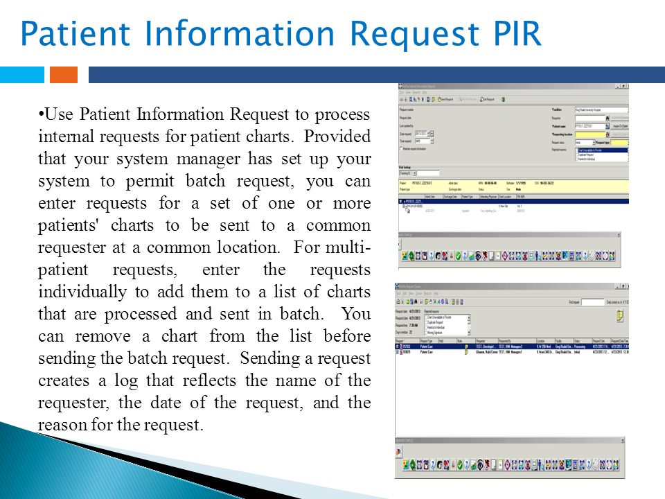  Patient Information Request PIR