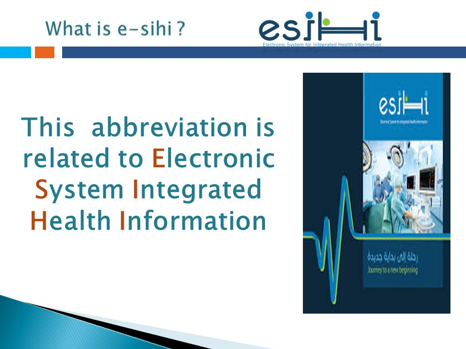 What is e-sihi This abbreviation is related to Electronic System Integrated Health Information