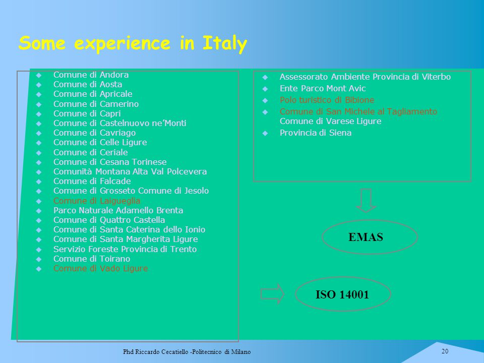 Some experience in Italy