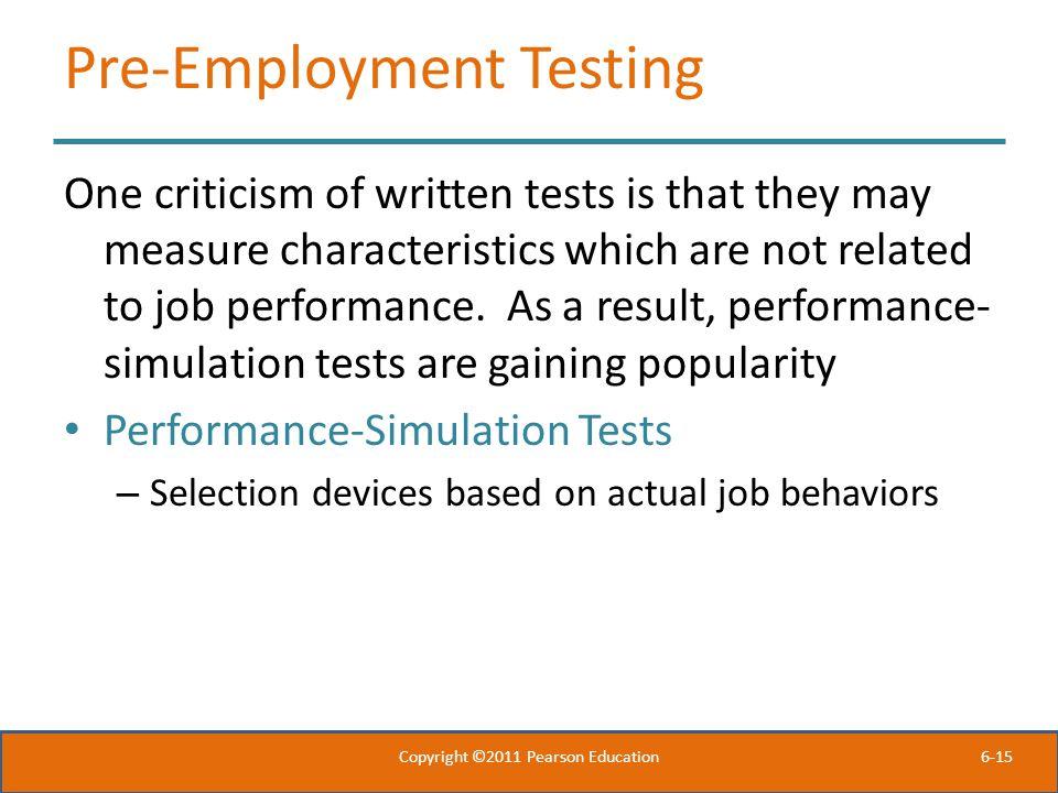 Pre-Employment Testing