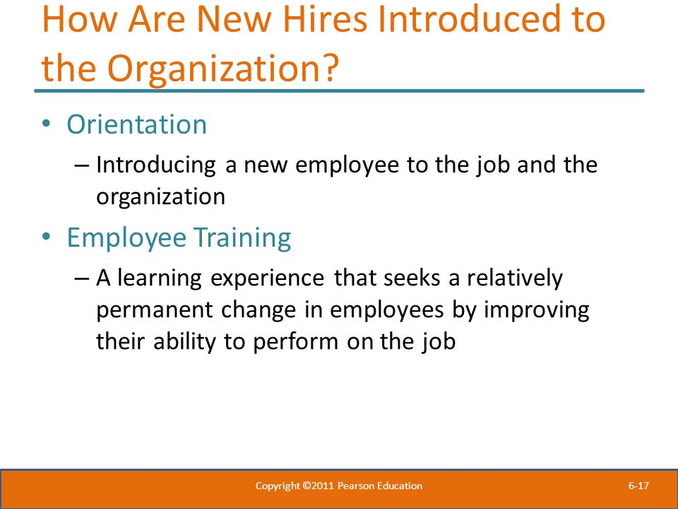 How Are New Hires Introduced to the Organization