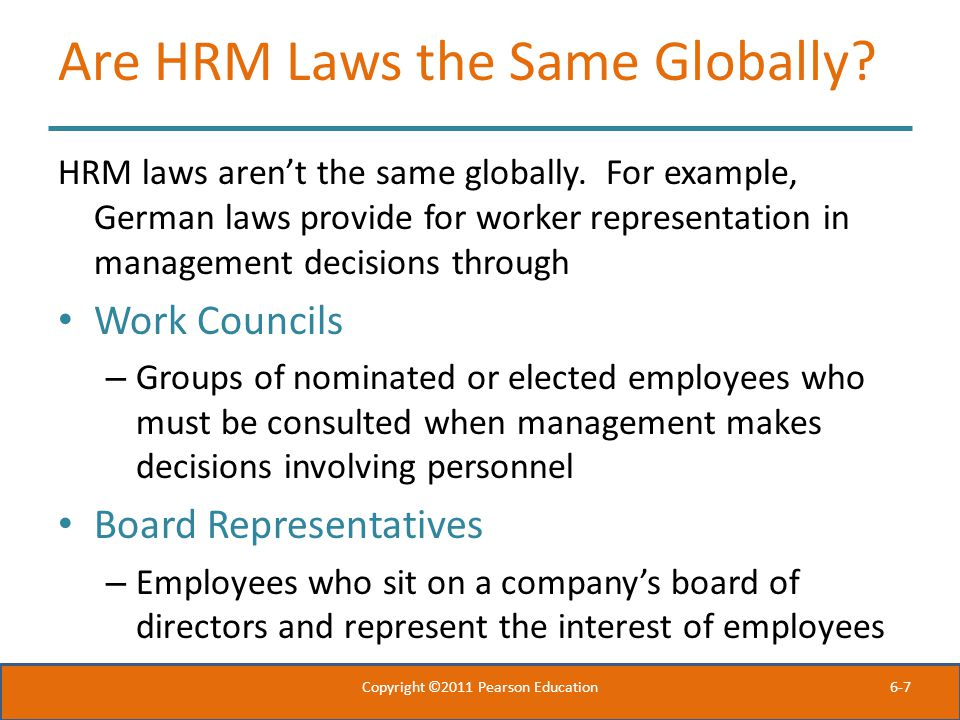 Are HRM Laws the Same Globally