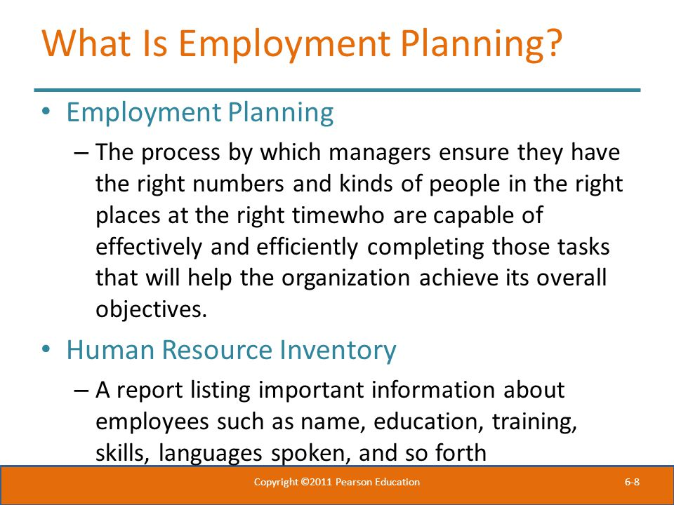 What Is Employment Planning