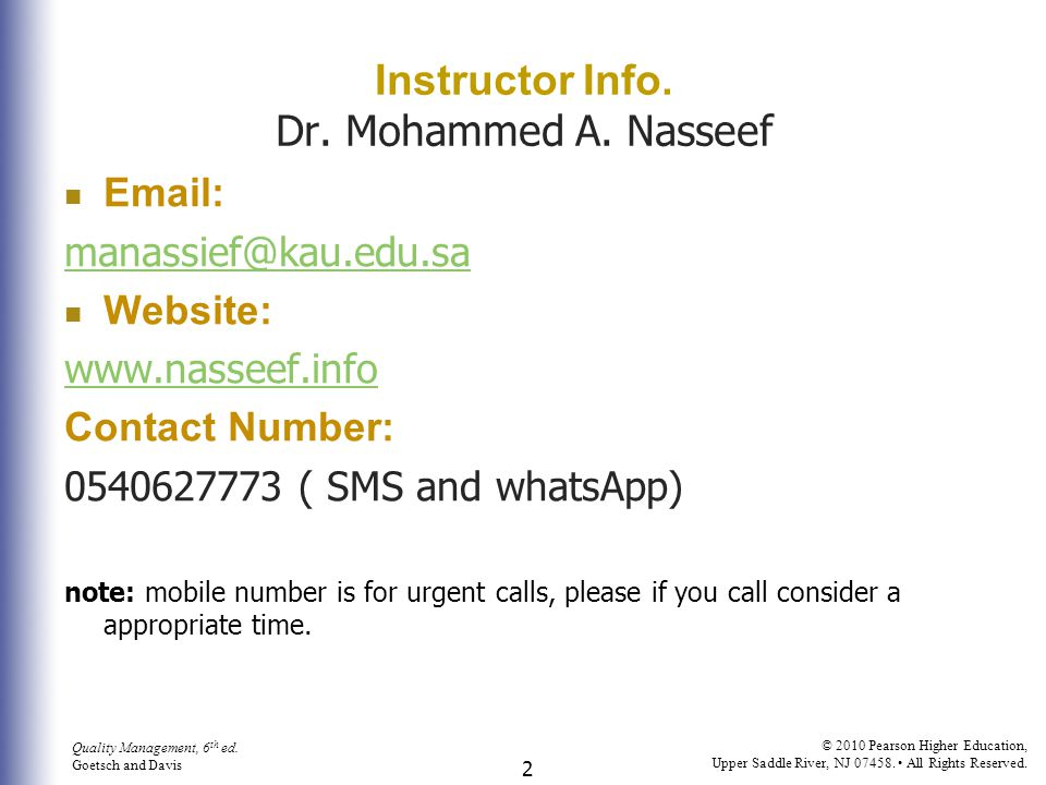 Instructor Info. Dr. Mohammed A. Nasseef