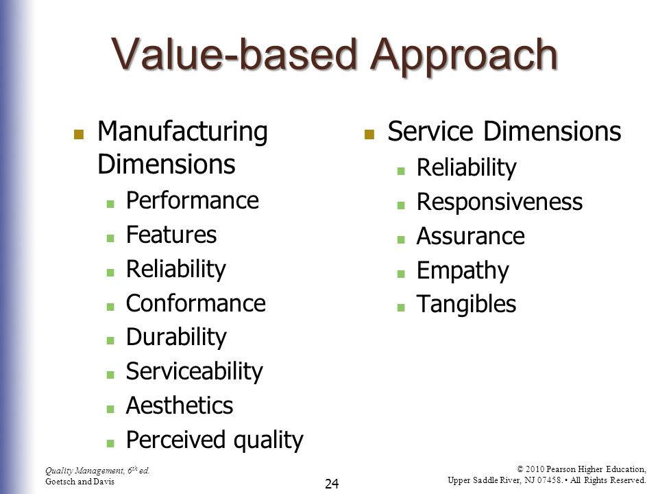 Value-based Approach Manufacturing Dimensions Service Dimensions