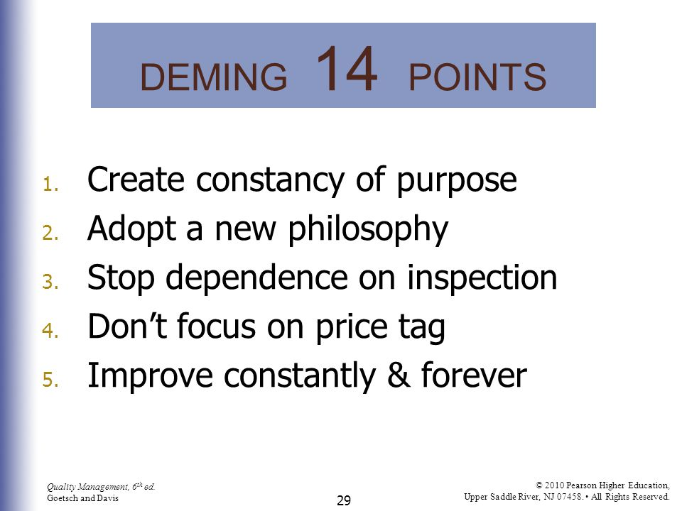 DEMING 14 POINTS Create constancy of purpose Adopt a new philosophy