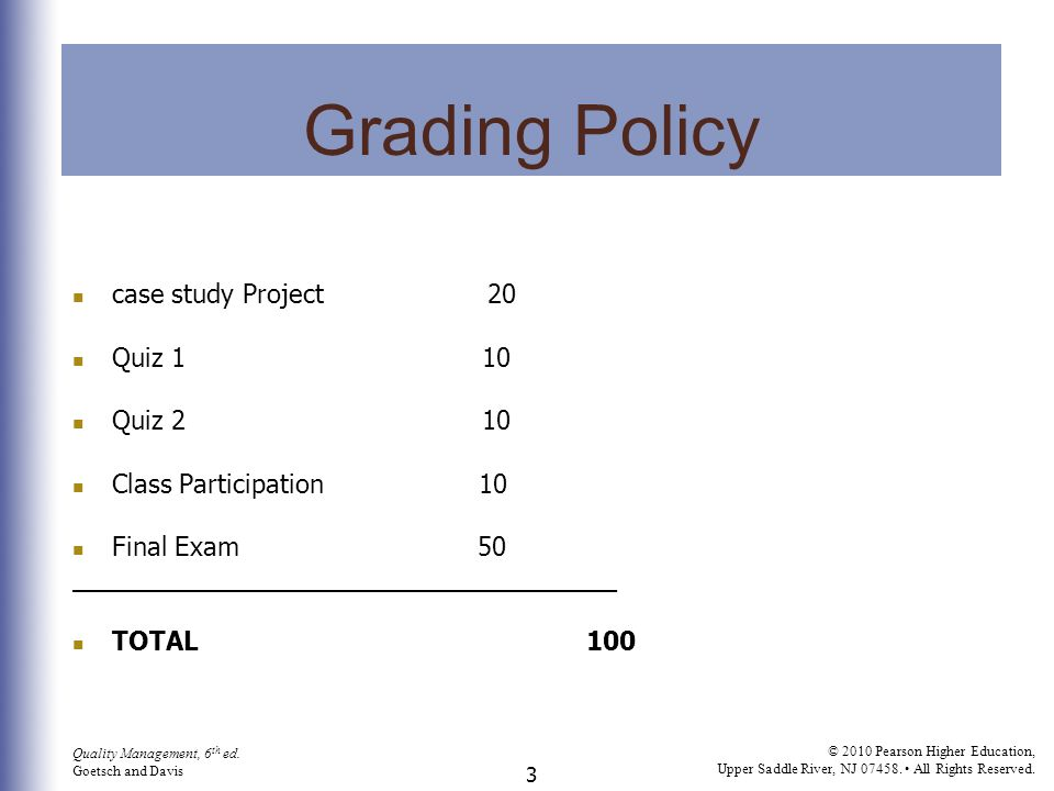 Grading Policy case study Project 20 Quiz 1 10 Quiz 2 10