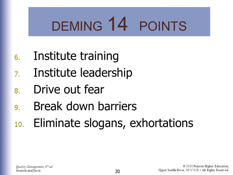 DEMING 14 POINTS Institute training Institute leadership