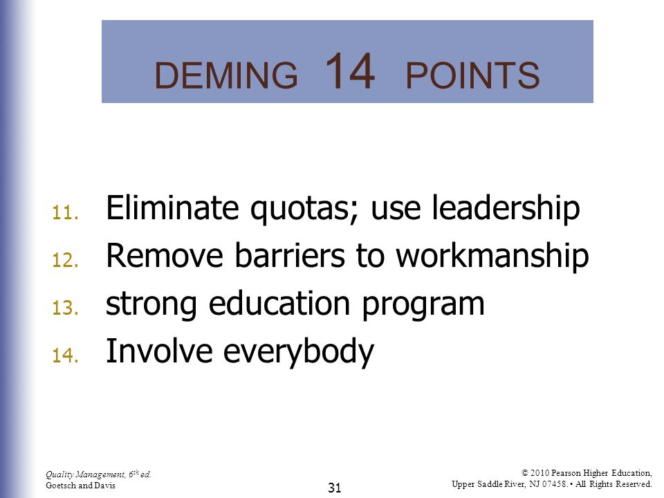 DEMING 14 POINTS Eliminate quotas; use leadership