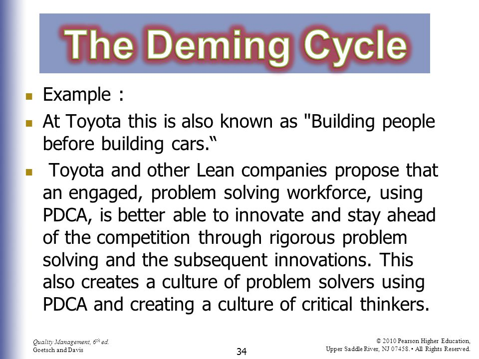 The Deming Cycle Example :