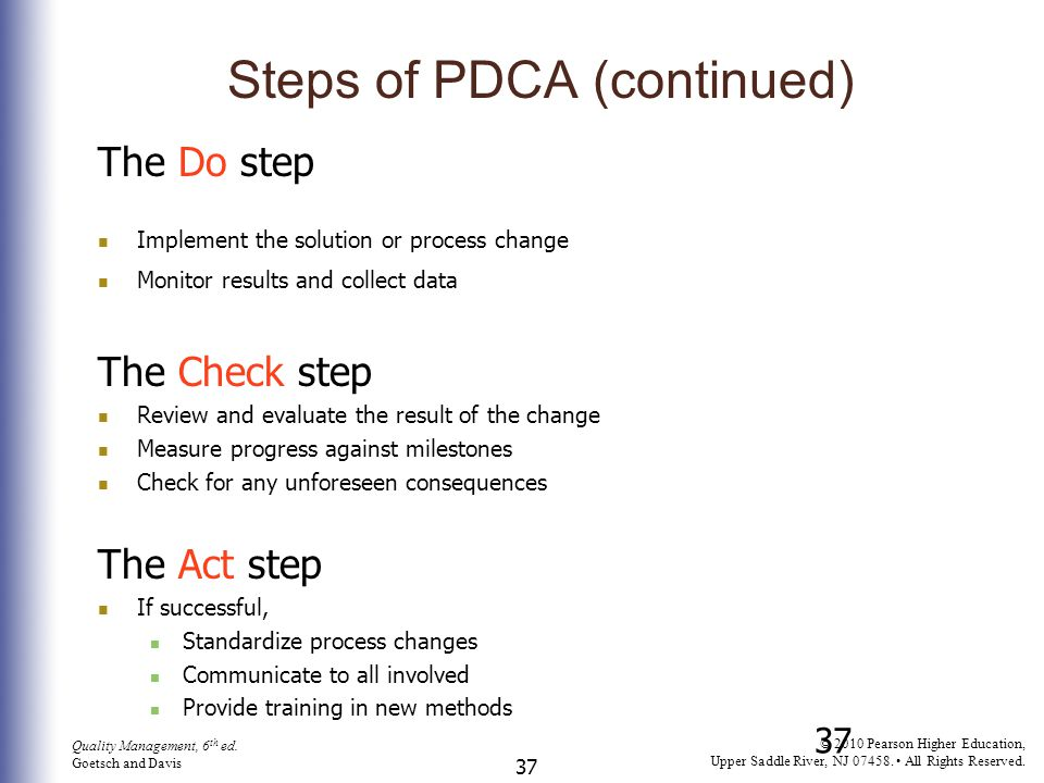 Steps of PDCA (continued)