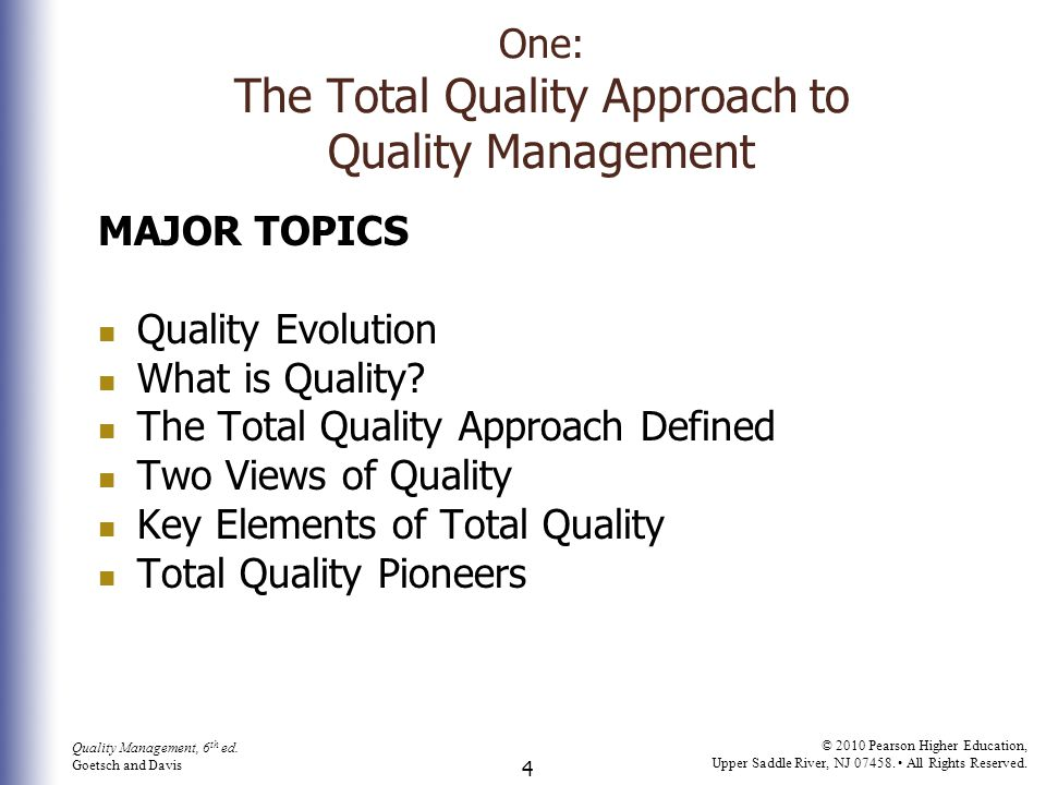 One: The Total Quality Approach to Quality Management