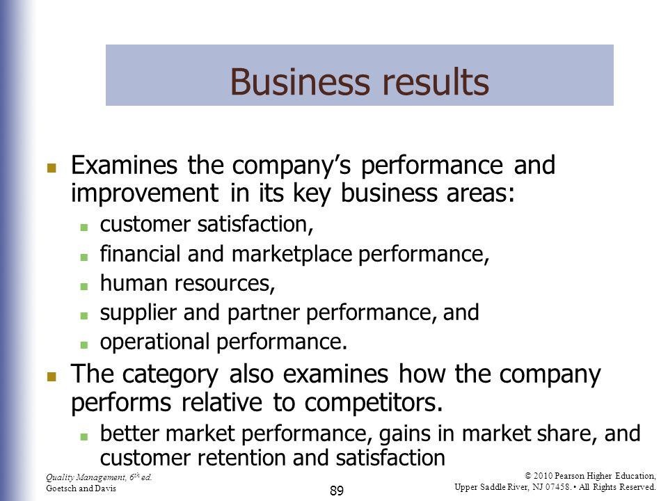 Business results Examines the company's performance and improvement in its key business areas: customer satisfaction,