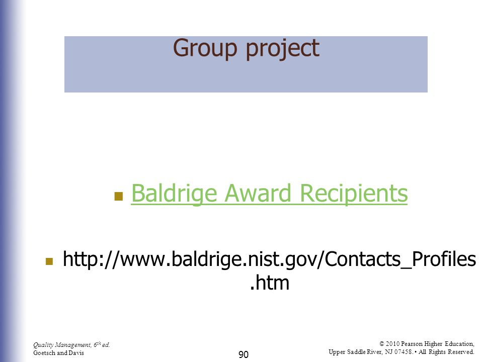 Baldrige Award Recipients