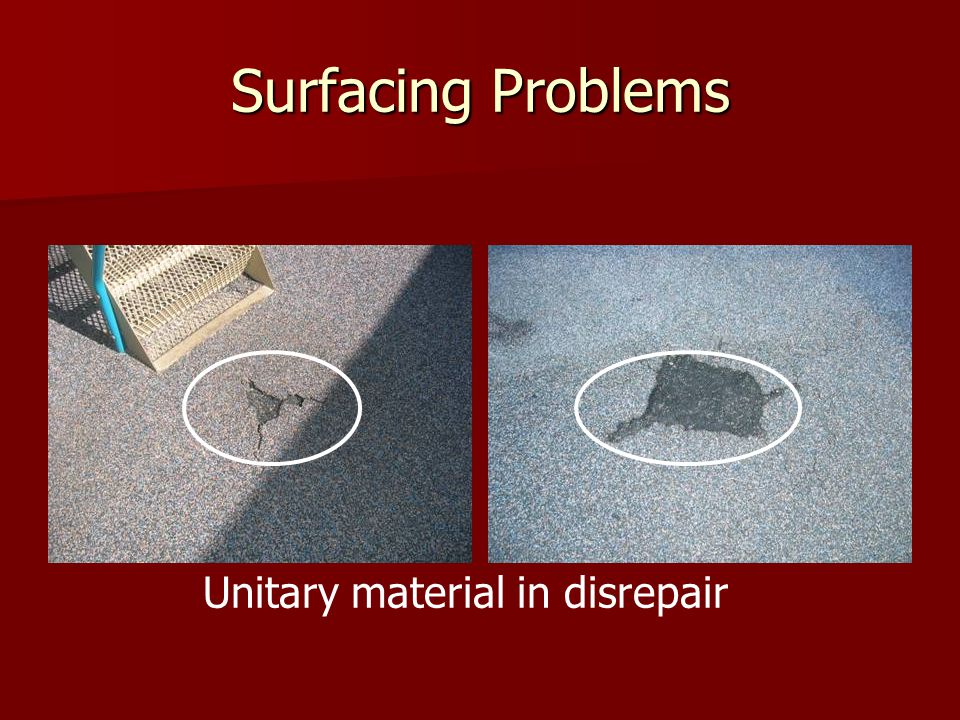 Unitary material in disrepair