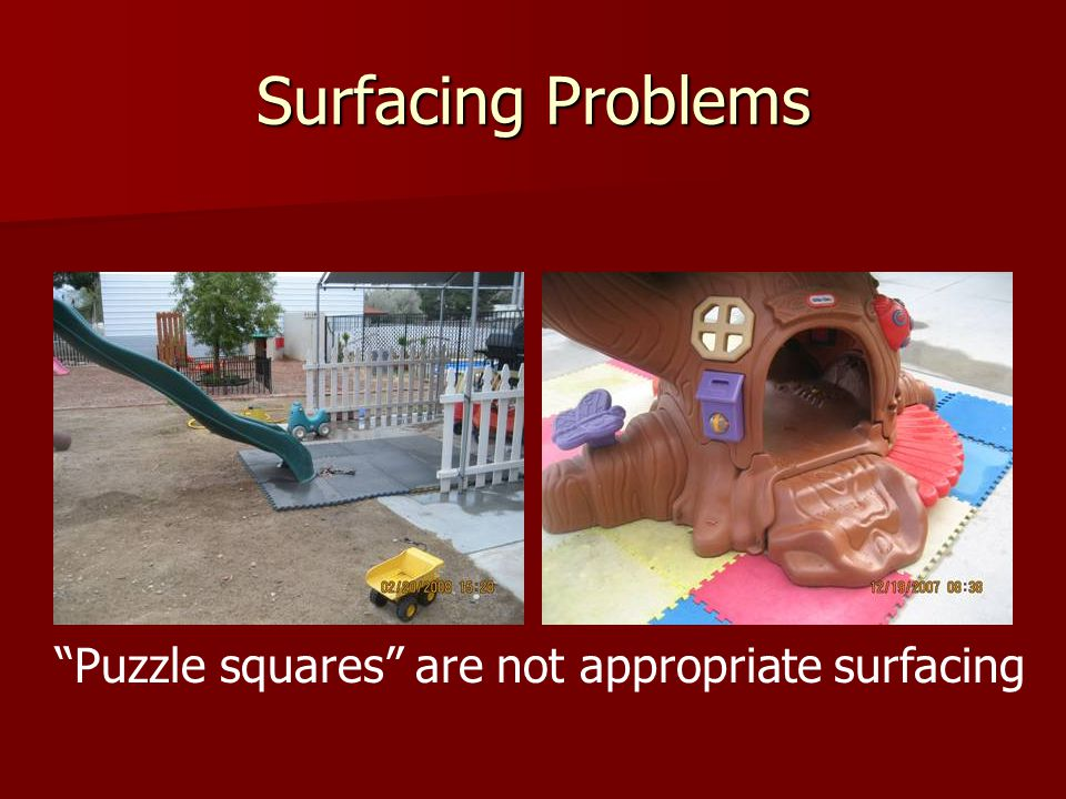 Puzzle squares are not appropriate surfacing