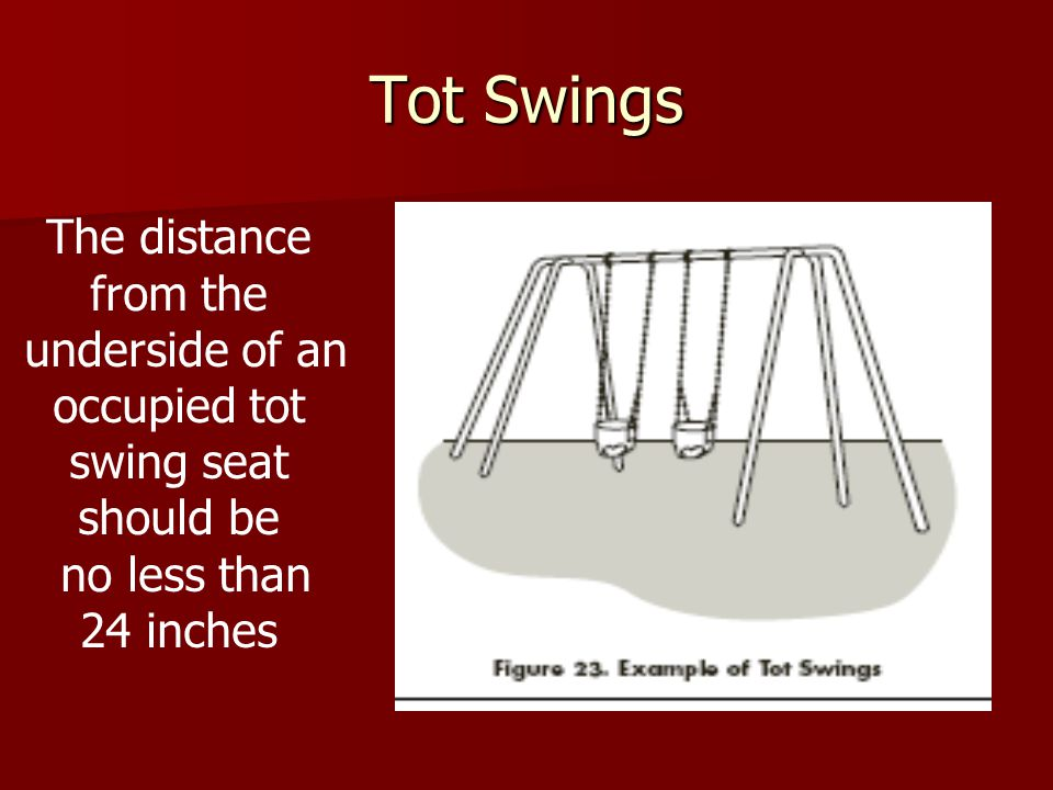 Tot Swings The distance from the underside of an occupied tot