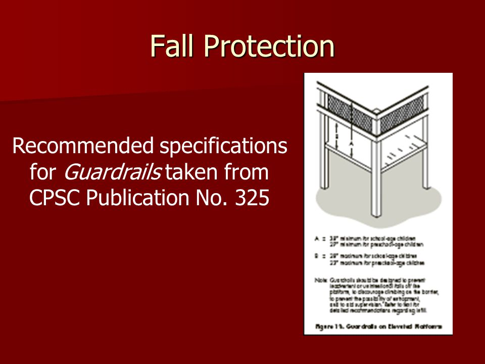 Fall Protection Recommended specifications for Guardrails taken from