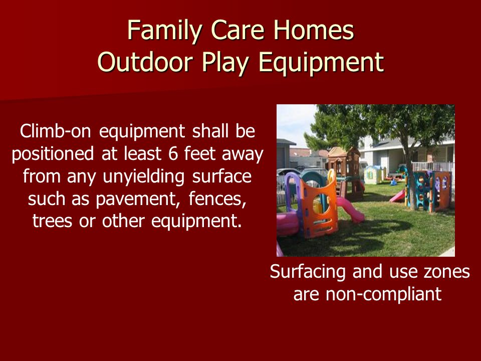 Family Care Homes Outdoor Play Equipment