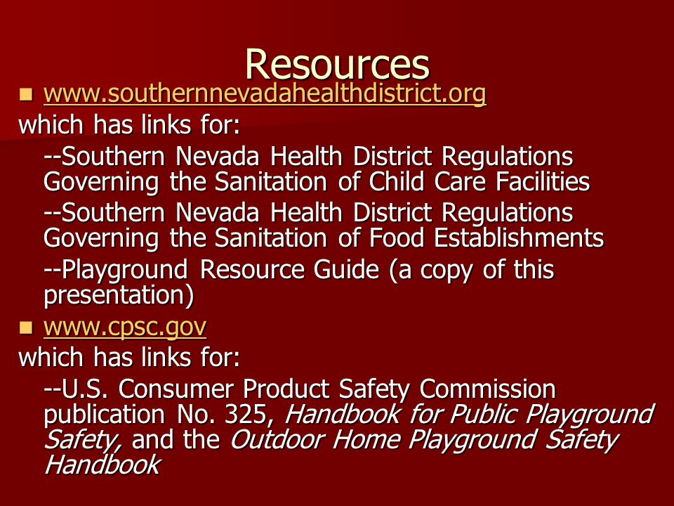 Resources www.southernnevadahealthdistrict.org which has links for: