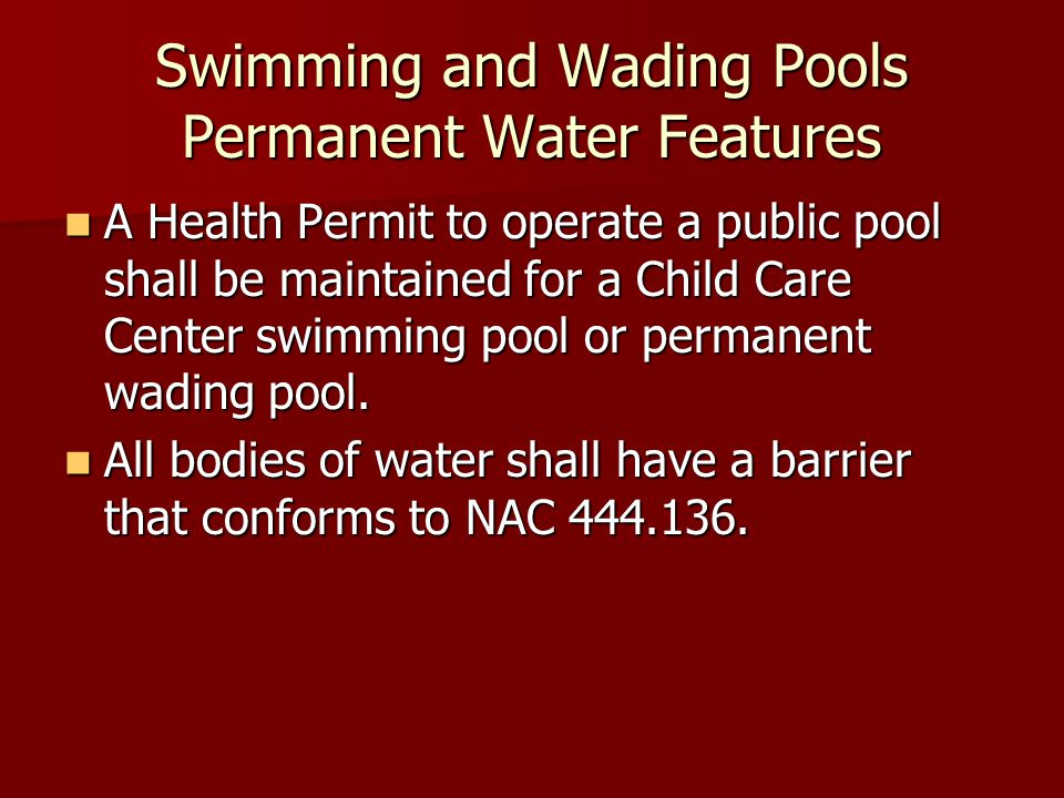 Swimming and Wading Pools Permanent Water Features