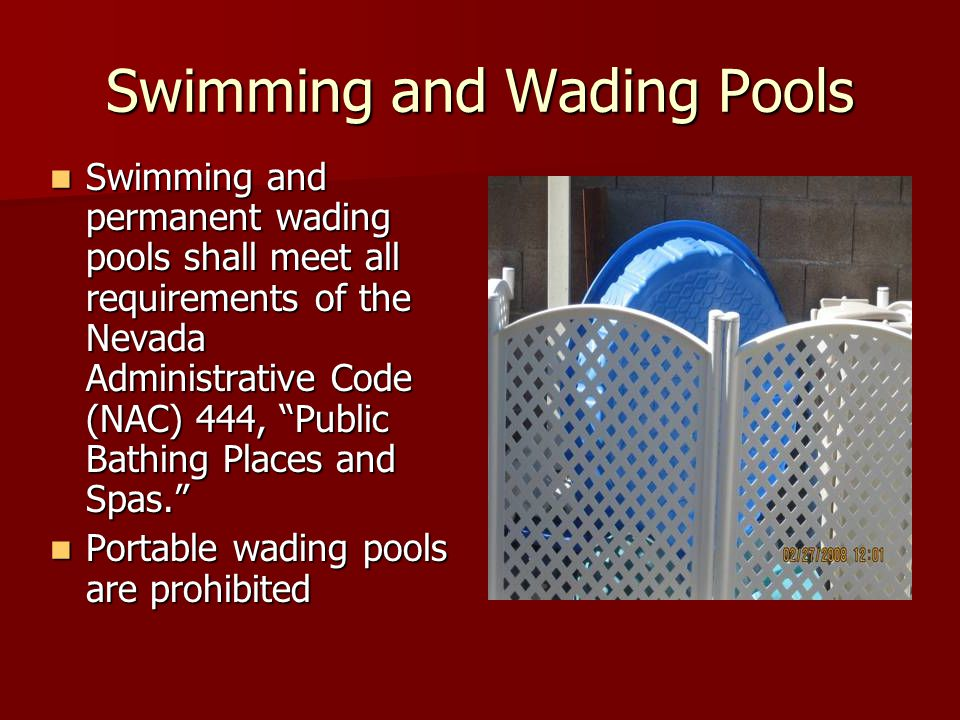 Swimming and Wading Pools