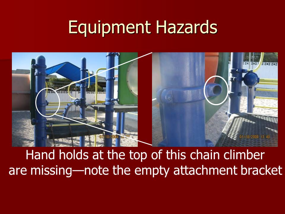Equipment Hazards Hand holds at the top of this chain climber
