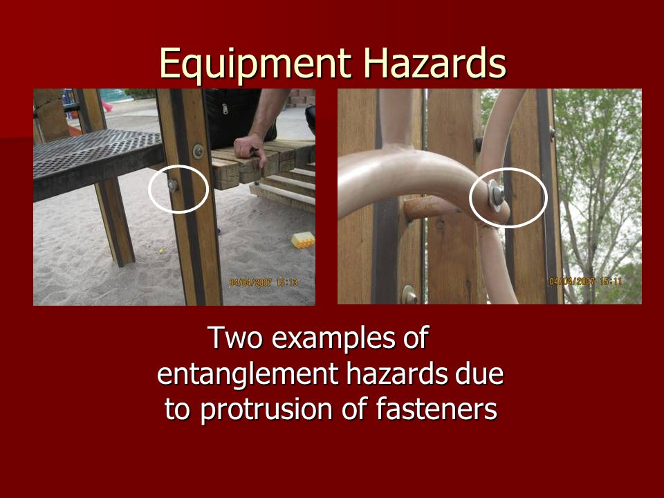 Two examples of entanglement hazards due to protrusion of fasteners