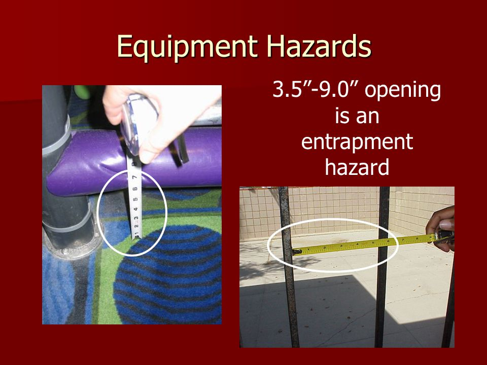 Equipment Hazards 3.5 -9.0 opening is an entrapment hazard