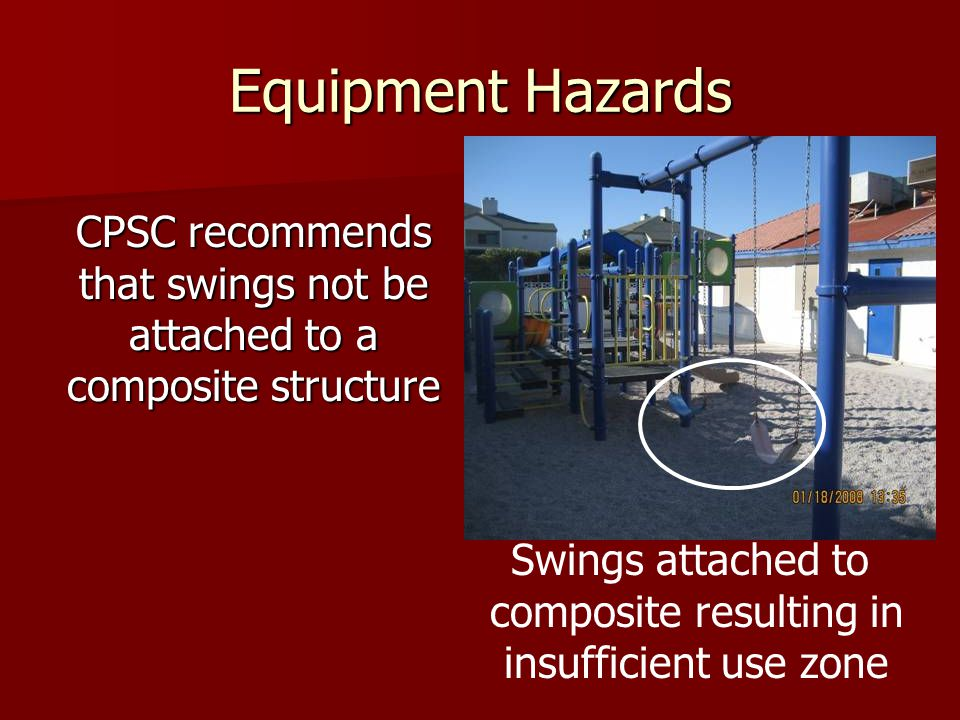 Equipment Hazards CPSC recommends that swings not be attached to a composite structure. Swings attached to.