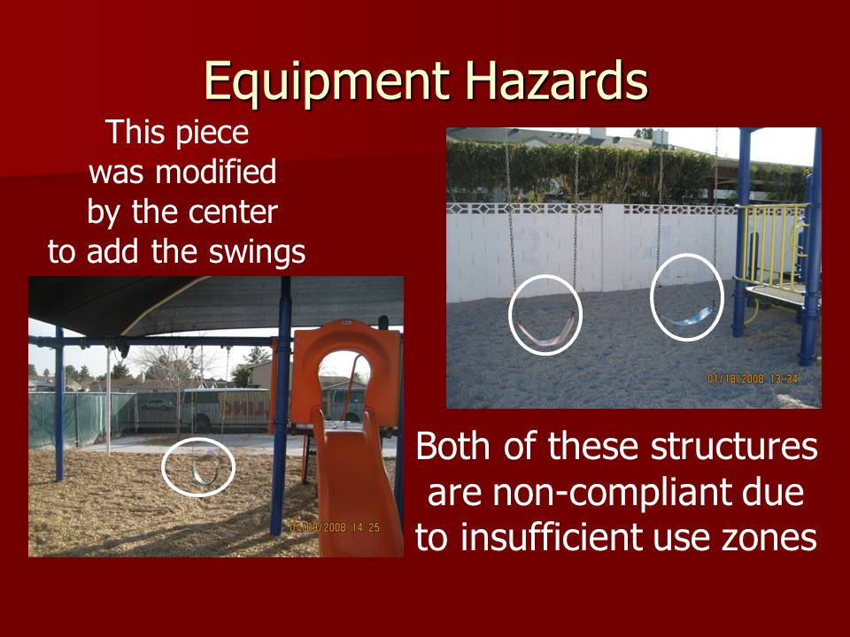 Equipment Hazards Both of these structures are non-compliant due