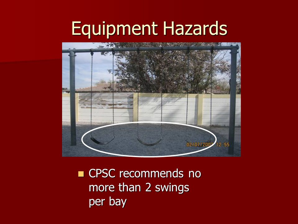 Equipment Hazards CPSC recommends no more than 2 swings per bay