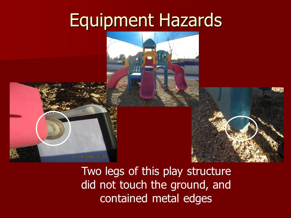 Equipment Hazards Two legs of this play structure