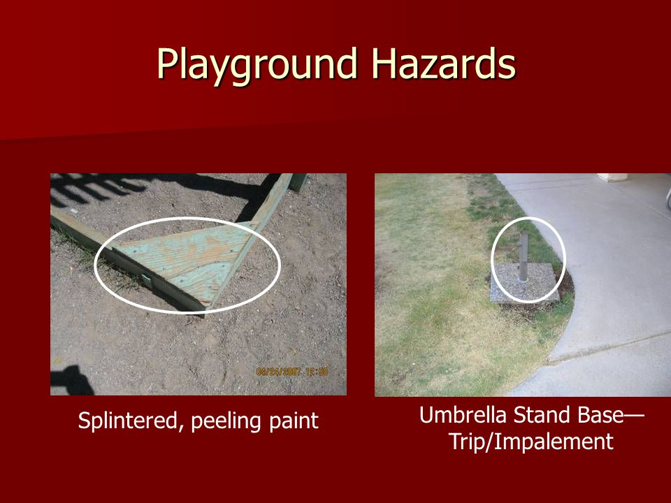Playground Hazards Umbrella Stand Base—Trip/Impalement