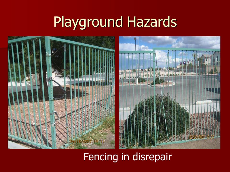 Playground Hazards Fencing in disrepair