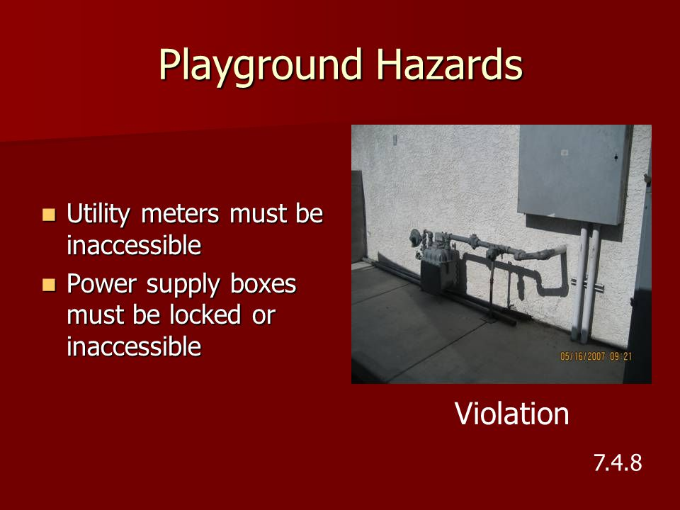 Playground Hazards Violation Utility meters must be inaccessible