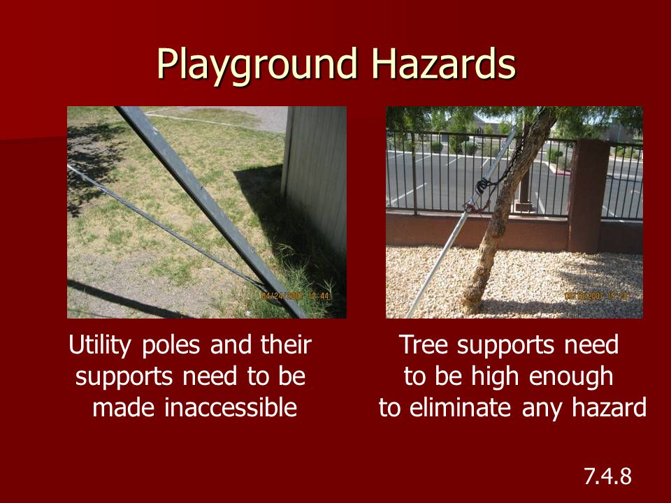 Playground Hazards Utility poles and their supports need to be