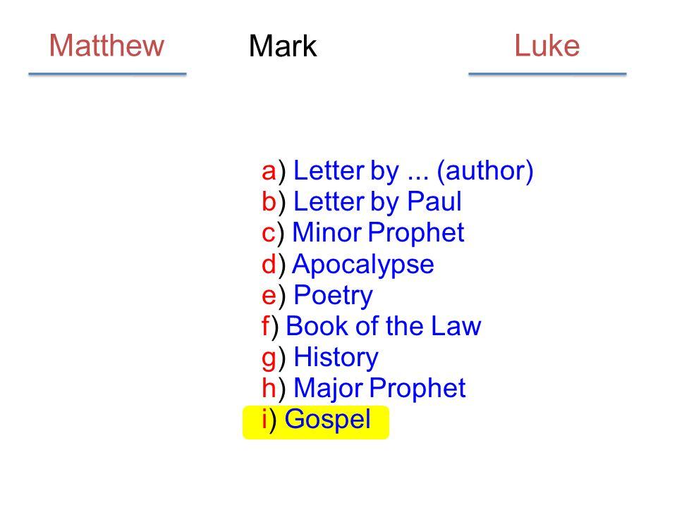 Matthew Luke Mark a) Letter by ... (author) b) Letter by Paul