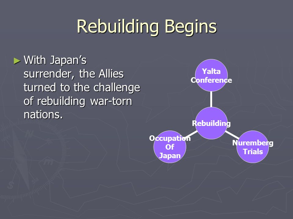 Rebuilding Begins With Japan's surrender, the Allies turned to the challenge of rebuilding war-torn nations.