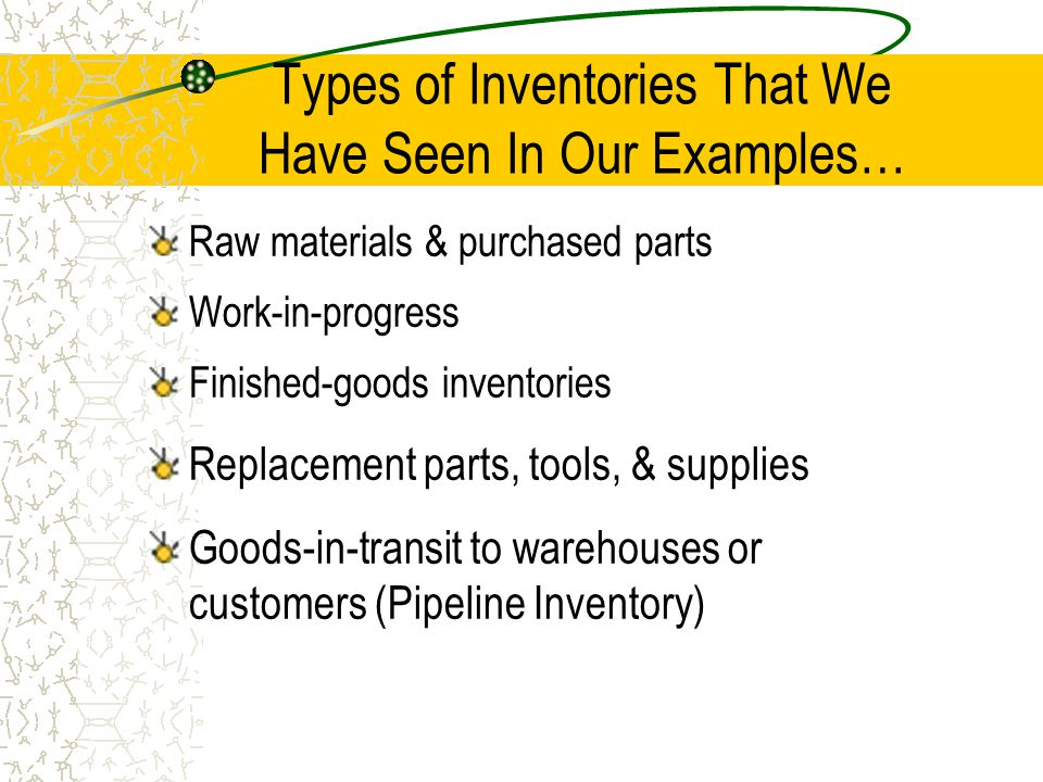 Types of Inventories That We Have Seen In Our Examples…