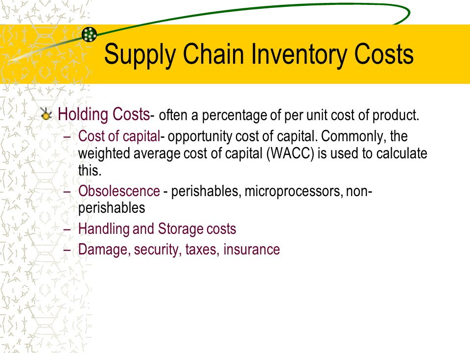 Supply Chain Inventory Costs