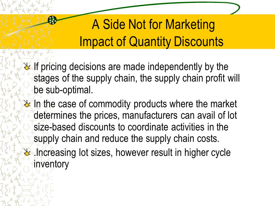 A Side Not for Marketing Impact of Quantity Discounts