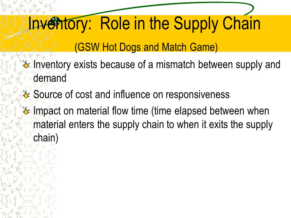 Inventory: Role in the Supply Chain (GSW Hot Dogs and Match Game)