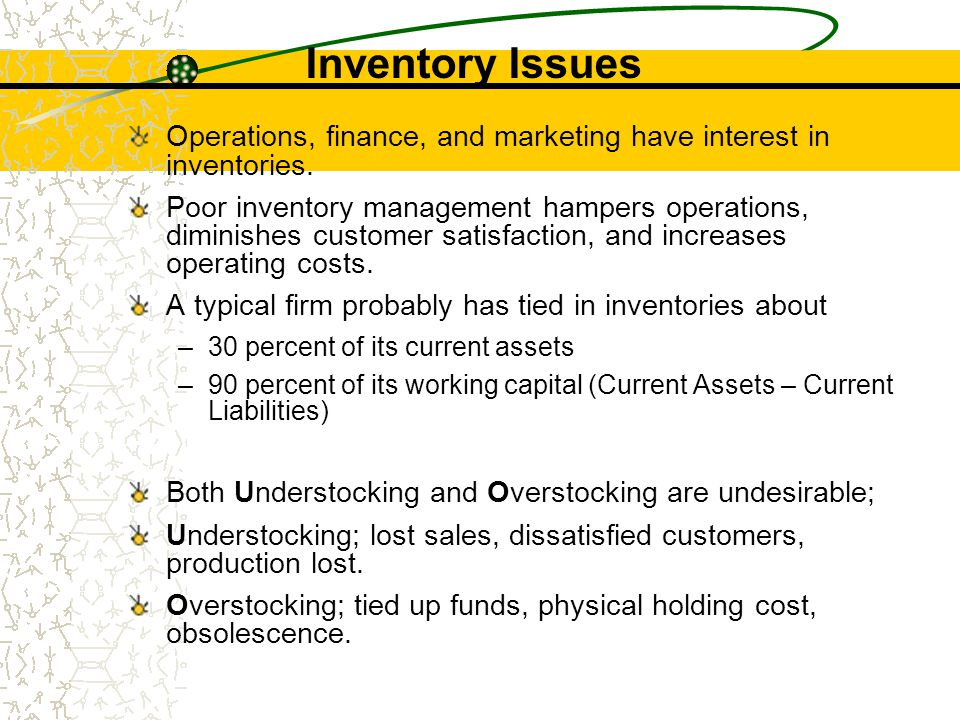 Inventory Issues Operations, finance, and marketing have interest in inventories.