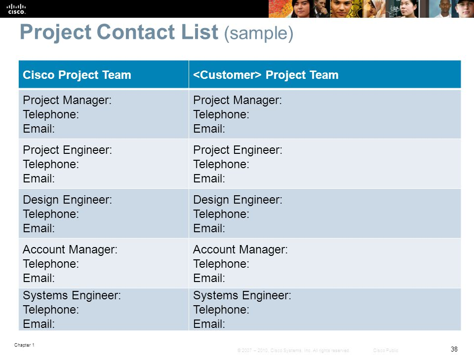 Project Contact List (sample)