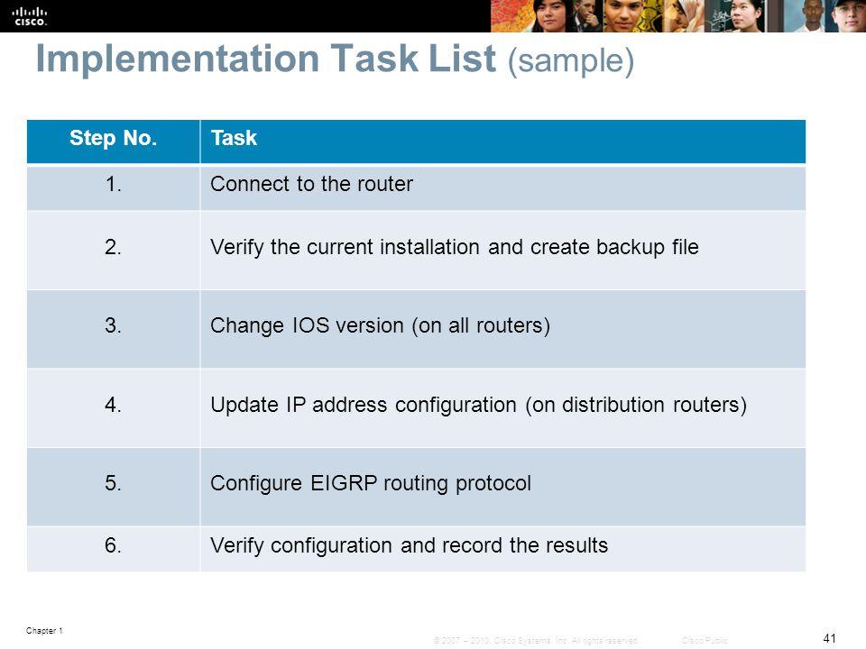 Implementation Task List (sample)