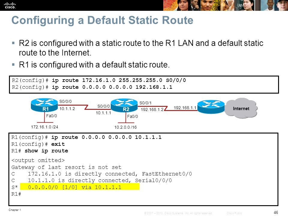 Configuring a Default Static Route