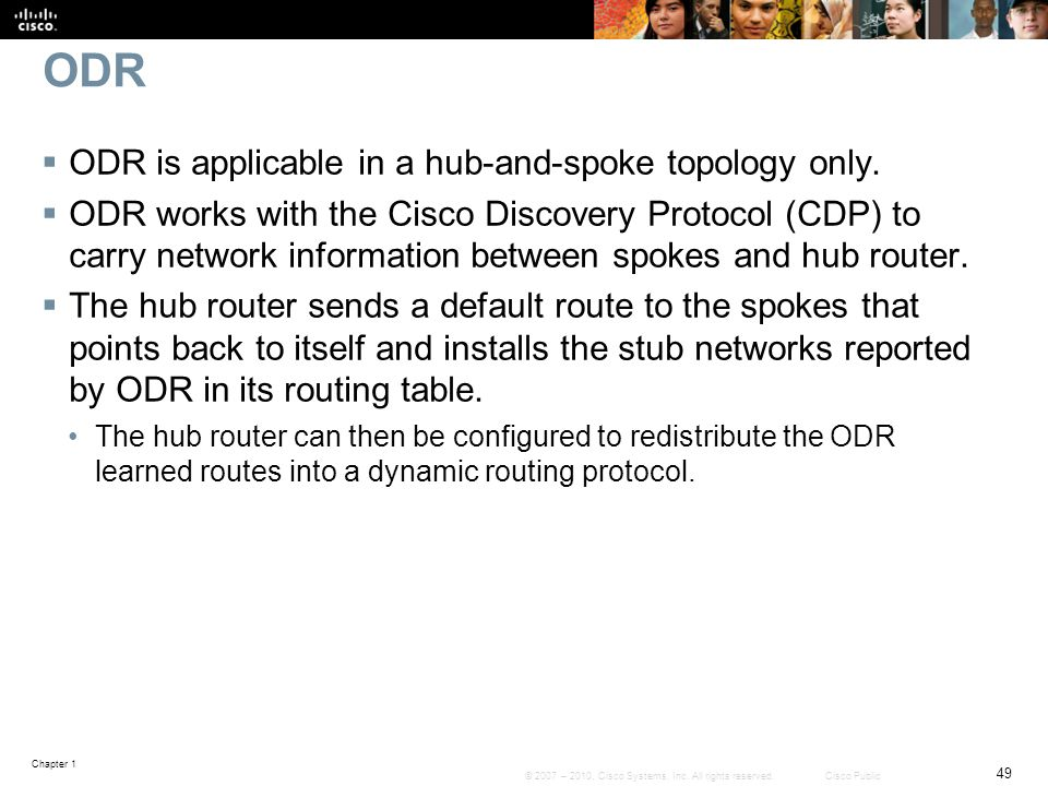 ODR ODR is applicable in a hub-and-spoke topology only.