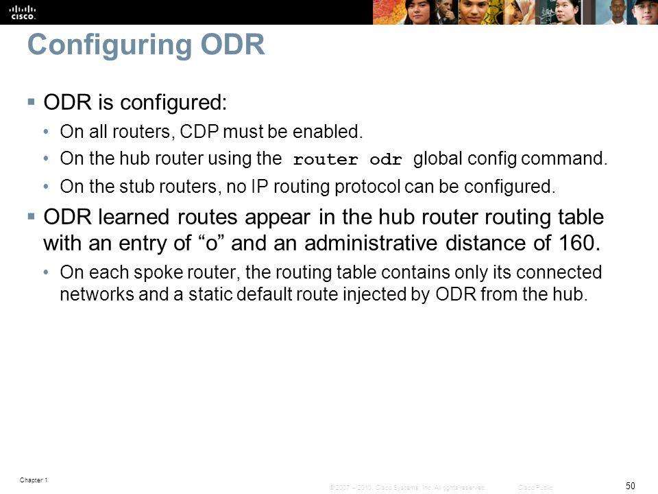 Configuring ODR ODR is configured: