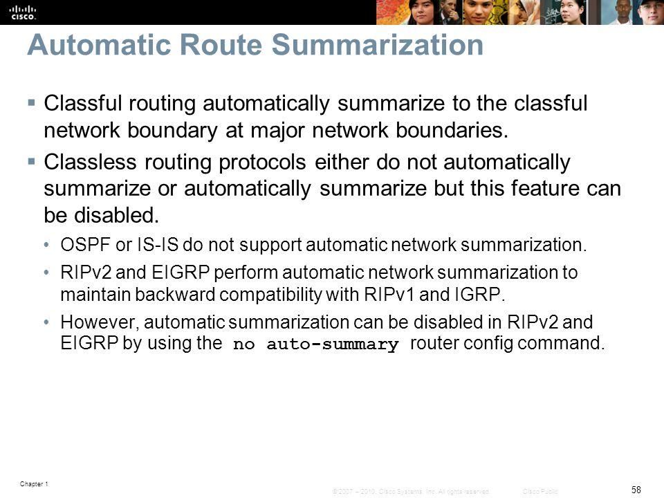 Automatic Route Summarization